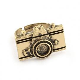 "Camera Ring ""Fotoshoot"" Antiek Goudkleurig"