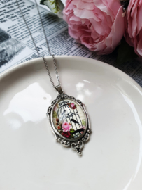"""Vogelkooi Ketting """"In A Glass Bird Cage"""" Pink"""