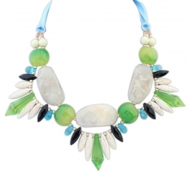 "Statement Ketting ""White & Green Stones"""