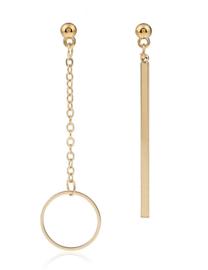 """Asymmetrische Oorbellen """"Gold Hoop & Bar"""""""