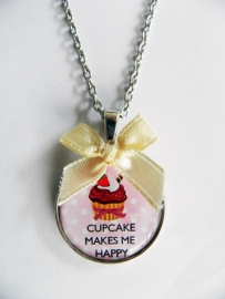 "Ketting ""Cupcake Makes Me Happy"" Roze"