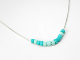 "Ketting ""Love In Morse Code Turquoise"" Silver Plated"
