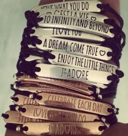 """Tekst Armband """"Quote"""" In Zilver of Rose Goud"""