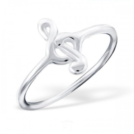 "Muzieknoot Ring ""Treble Clef"" 925 Sterling Zilver"