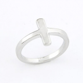 "Kruis Ring ""Simple Cross"" Zilverkleur"