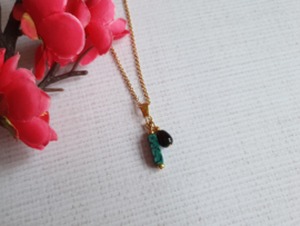 "Halfedelsteen ketting ""Malachite tube"" Stainless Steel"