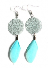 "Oorbellen ""Boho Feather Turquoise"""