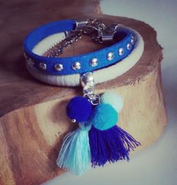 """Pompon Armband """"True Blue"""""""