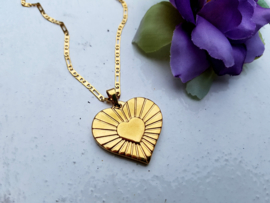 "Ketting ""Vintage Golden Heart"" Stainless Steel"