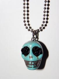 """Ketting """"Flower Eyed Skull"""" Turquoise"""