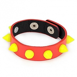 """Armband  """"Yellow Studs On Red Leather"""""""