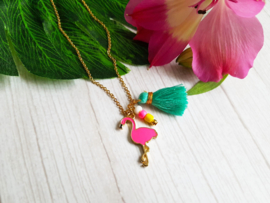 "Ketting ""Pink Flamingo"" Stainless Steel"