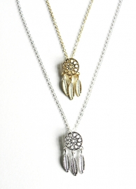 "Subtiele Ketting ""Dreamcatcher"" Goud Plated of Zilver Plated"