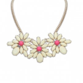 "Statement Ketting ""White & Pink Daisy"""