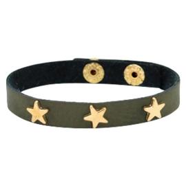 """Lederlook Armband """"Gold Star"""" Donkergroen"""