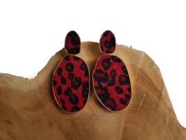 """Luipaard Oorbellen """"Leopard Love"""" Rood"""
