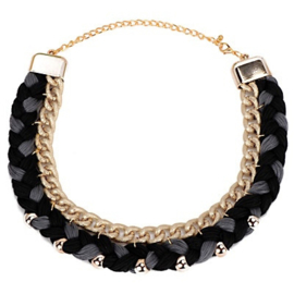 "Statement Ketting ""Black Braids"""