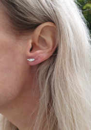 """Oorstuds """"Tiny Silver Feather"""" Stainless Steel"""