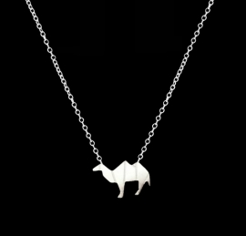 "Subtiele Kameel Ketting ""Camel"" Silver Plated"
