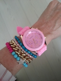 """Horloge """"Watch My Candy Colors"""" Roze"""