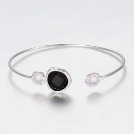 "Armband ""Silver Plated Stone Bangle"" Black"