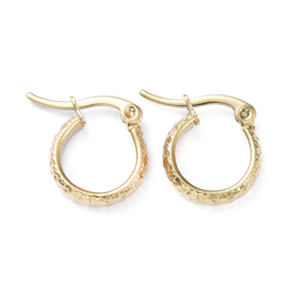 "Kleine Oorringen ""Textured Hoops"" Stainless Steel"