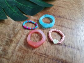"Ringen Set ""Pink & Blue"" 4 Stuks"