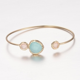 "Armband ""Gold Plated Stone Bangle"" Aquamarine"