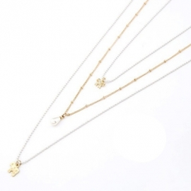 "Layering Ketting ""Gold & White"""