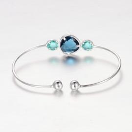 "Armband ""Silver Plated Stone Bangle""Blauw"