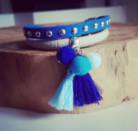"Pompon Armband ""True Blue"""