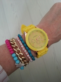 "Horloge ""Watch My Candy Colors"" Geel"