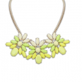 "Statement Ketting ""Cream, Yellow & Green Daisy"""