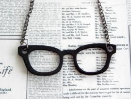"Bril Ketting ""Nerd Glasses"" zwart"