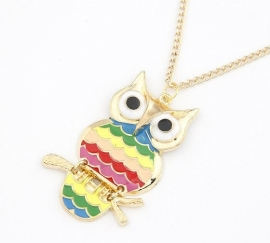 "Uil Ketting ""Gold Coloured Owl"""
