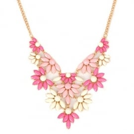 "Statement Ketting ""Pink & Cream Flower"""