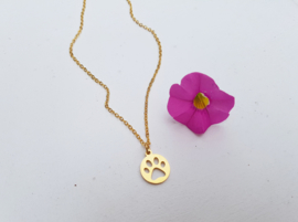 """Dierenpoot Ketting """"Paw Print Coin"""""""