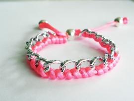 "Ibiza Armband ""Braided Curbs"" Zilver & Knalroze"