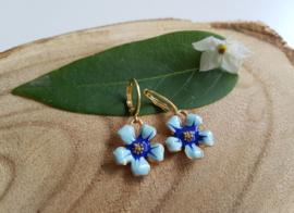 "Bloem oorbellen ""Blue Flower"""
