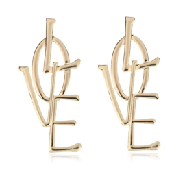 "Statement Ooorbellen ""Love"" Zilver of Goud"