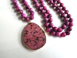 "Boho Kralen Ketting ""Natural Pink Stone"" Natuursteen"