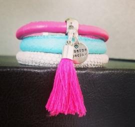 Ibiza Armband - Someone Special - Pink, Turquoise & ivory