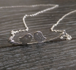 "Ketting ""Cute Lovebirds"" Silver Plated"