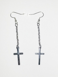 "Kruis Oorbellen ""Cross On A Chain"""