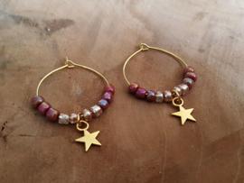 """Oorbellen """"Stars & Beads"""" Goud"""