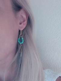 "Oorbellen ""Gold Feather"" Turquoise of Coral"