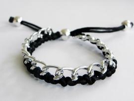 """Armbandje """"Braided Curbs"""" Zilver & Zwart"""
