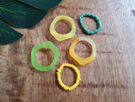 "Ringen Set ""Green & Yellow"" 5 Stuks"