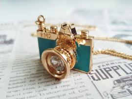 """Camera Ketting """"Paint Your Picture"""" Zwart, Turquoise of Roze"""