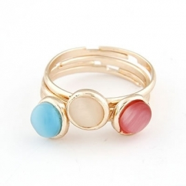 "Ringen Set ""Three Coloured Stones"""